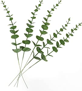 BIONTO 5 PCS Artificial Eucalyptus Leaves Stems with Real Touch Plastic - Fake Eucalyptus Branches Perfect for Bouquet Home Decor Wedding Party Arrangements and Gifts
