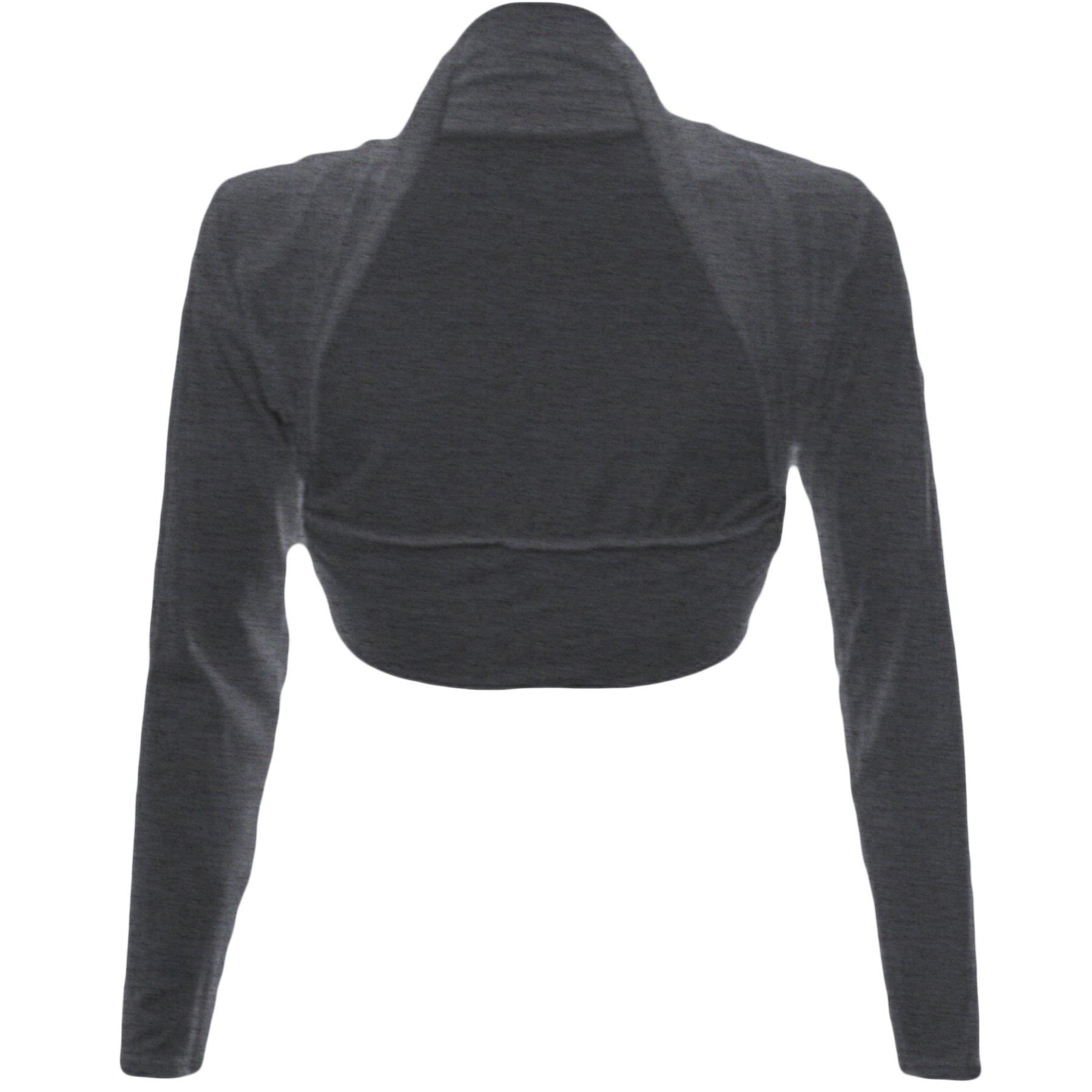 Fashion Wardrobe Womens Long Sleeve Boleros Shrugs Tops Ladies Casual Crop Cardigan Bolero Top ♥ (USA 6-8/UK 6-10 (S/M), Charcoal)