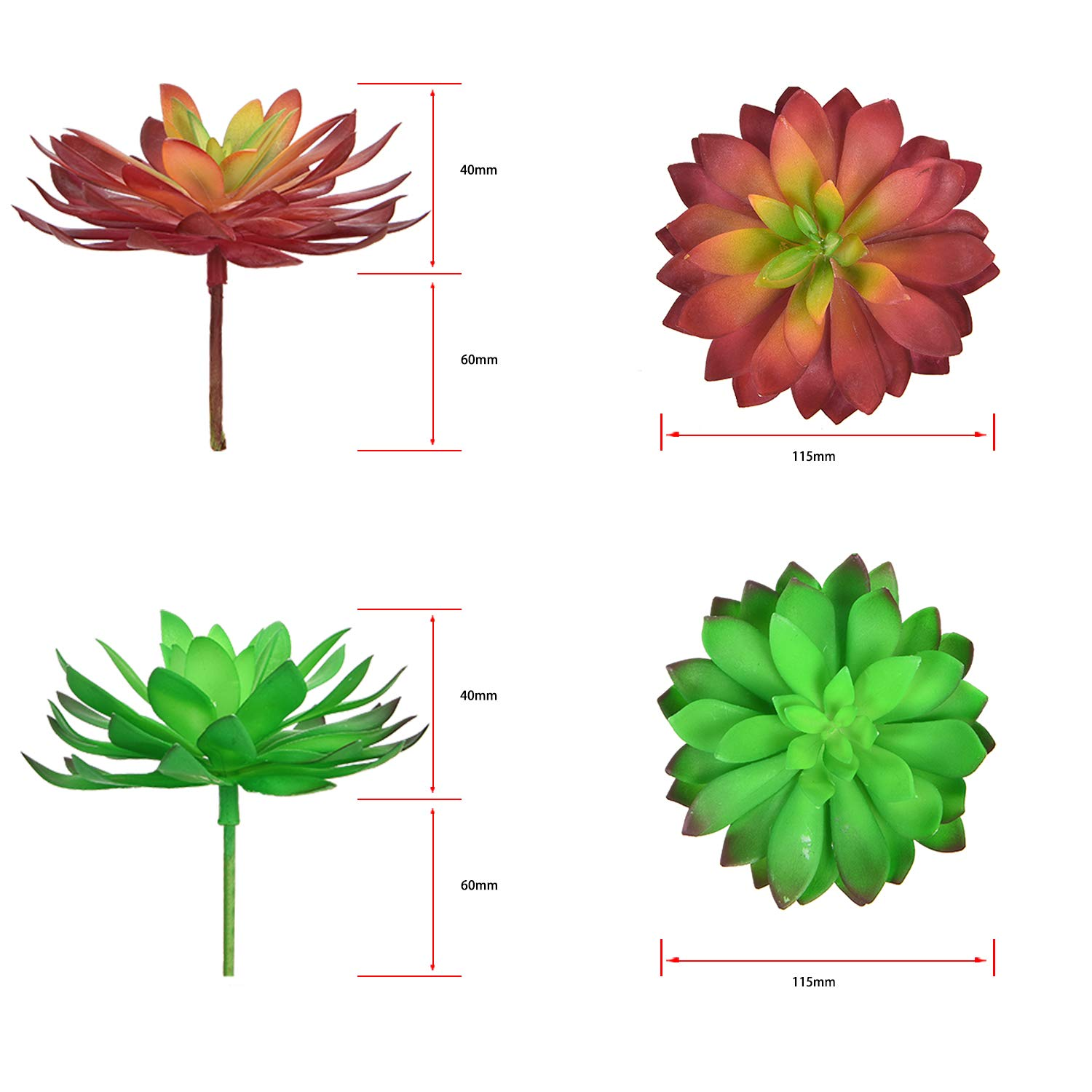 Yinhua Artificial Succulents Assorted Faux Succulent for Home Garden Office Wedding Centerpieces
