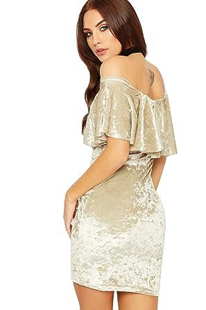 WEARALL Damen Velour Mini Party Kleid Damen Gestuft Rüsche Detail Bardot  Weg Schulter - Champagner - 36-38: Amazon.de: Bekleidung