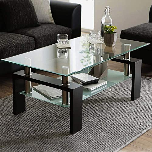 Tempered Glass Coffee Table Living Room Modern Side Coffee Table
