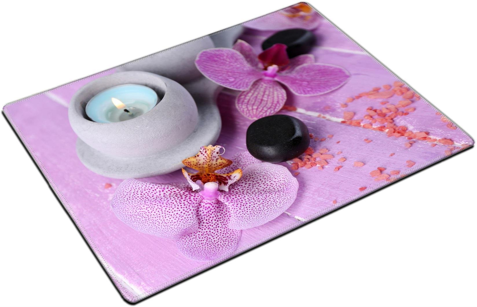 MSD Place Mat Non-Slip Natural Rubber Desk Pads Design: 35235690 Orchid Flowers Spa Stones and sea Salt on Color Wooden Background