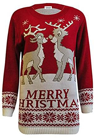 ec01a551f9b58 Adult Novelty 2 Reindeer Merry Christmas Jumper Womens Xmas Sweater Top  Red  Amazon.co.uk  Clothing