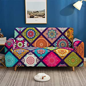 Printed Sofa Cover Stretch,Cartoon Cute Ethnic Pattern 3D Printed Polyester Spandex Stretch Couch Cover,Furniture Universal Sofa Cover For Armchair/Loveseat/Couch/Big Sofa,2,Seater 145,185Cm