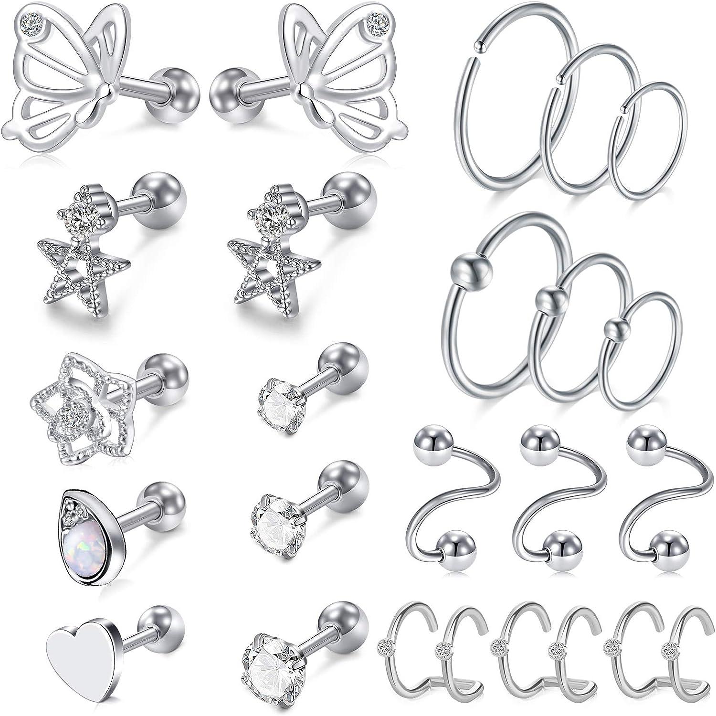 2Pairs Captive Bead Ring acrylic transparent Lobe Tragus Stud earrings piercing