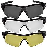 VeloChampion Warp Montatura Occhiali da Sole per Ciclismo (con 3 Lenti: incl. Sfumata, Trasparente)