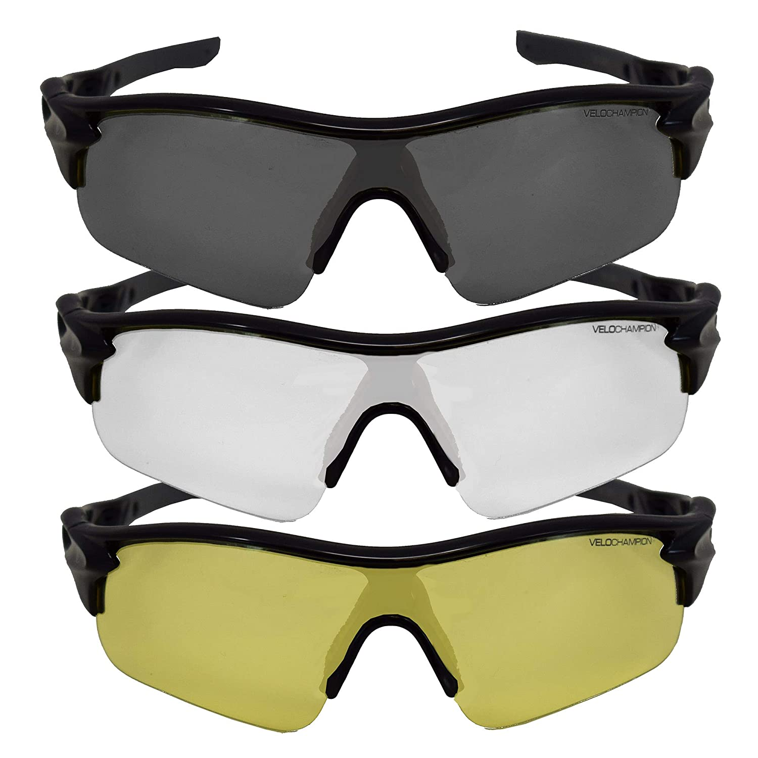 ee27a0b90c1 VeloChampion Warp Cycling Sunglasses Running Shooting Sports Glasses (Black)   Amazon.co.uk  Sports   Outdoors
