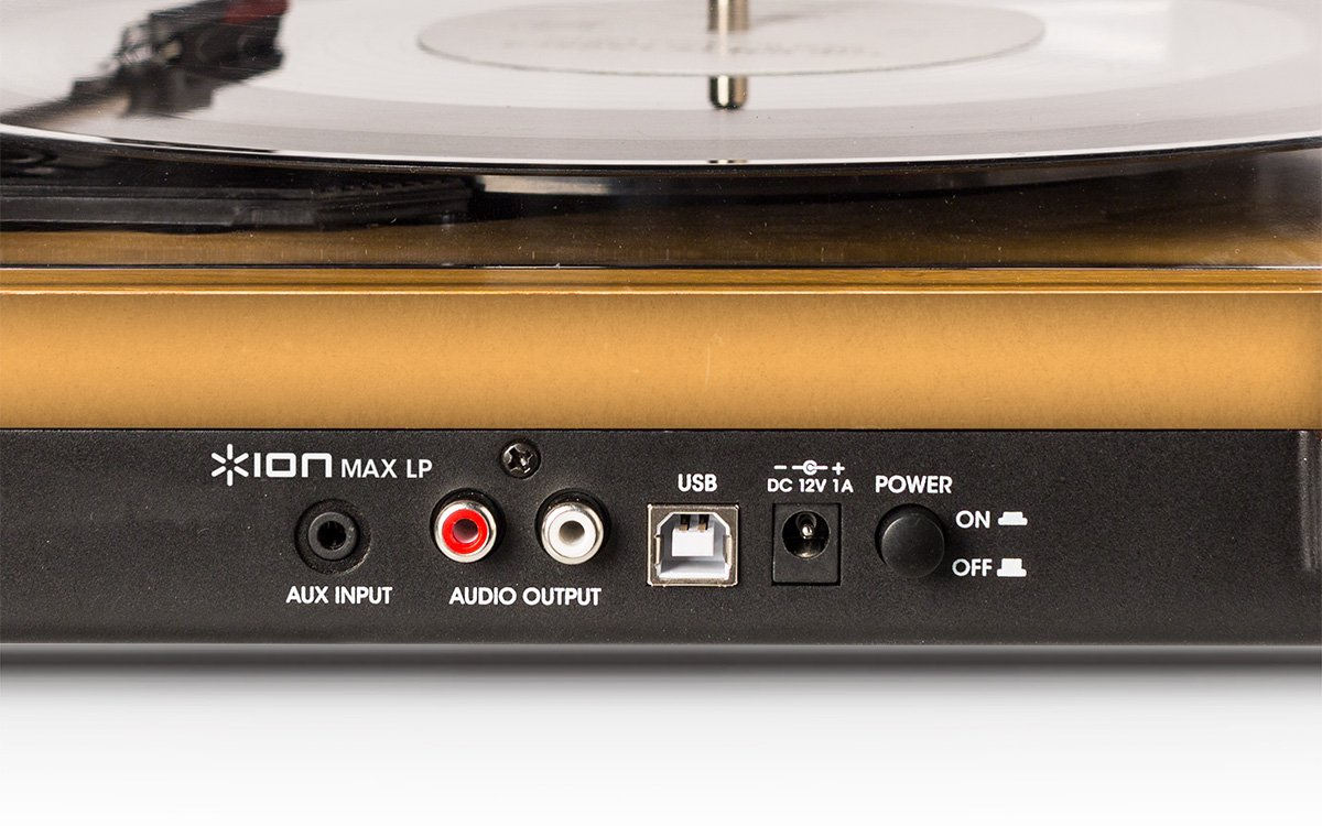 ION Audio Max LP – Three Speed Vinyl Conversion Turntable with Stereo Speakers, USB Output to Convert Vinyl Records to Digital Files and Standard RCA & Headphone Outputs – Natural Wood Finish