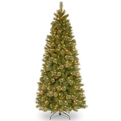 7.5' Pre-Lit Slim Tacoma Pine Artificial Christmas Tree - Clear Lights - Amazon.com: 7.5' Pre-Lit Slim Tacoma Pine Artificial Christmas Tree