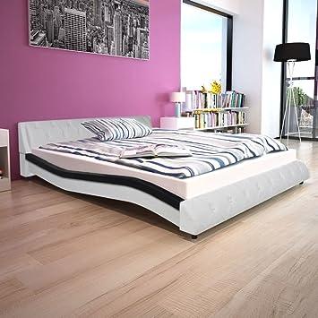 lingjiushopping cama colchón MEMORYFOAM Piel Sintética Negra/bianca160 X 200 CM estructura de cama color) Color Negro y Blanco: Amazon.es: Hogar