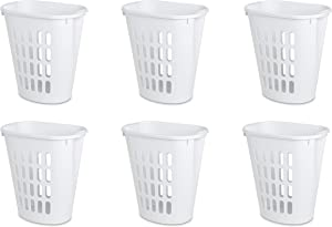 Sterilite 12568006 Open Laundry Hamper, White, 6-Pack