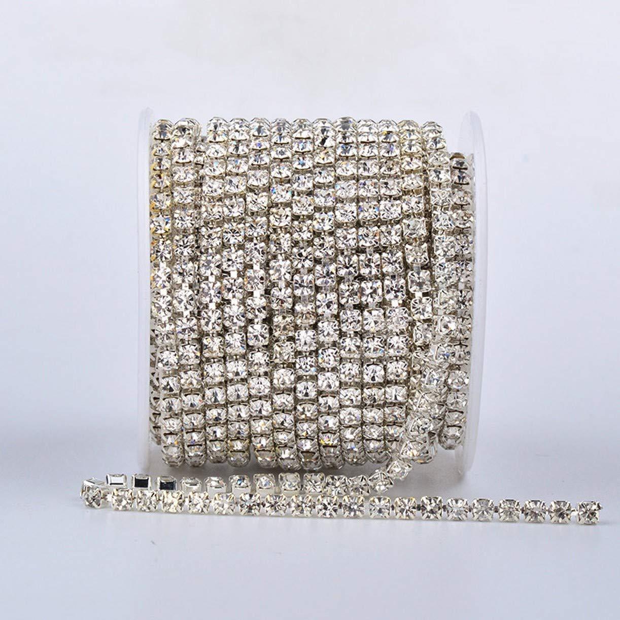 ZHONGJIUYUAN 109ヤード (100 Metters) 2mm ライトストーン 水晶クリスタルチェーン ダイヤストーンチェーン 装飾素材 手芸 縫製工芸 クリア(銀色)   B07Q4BQ2GG