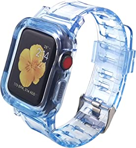 Hisri Compatible for Apple Watch Band 40mm 38mm with Rugged Bumper Protective Case, Crystal Clear Strap Replacement Bands for iWatch Series 6/SE/5/4/3/2/1 (Blue)