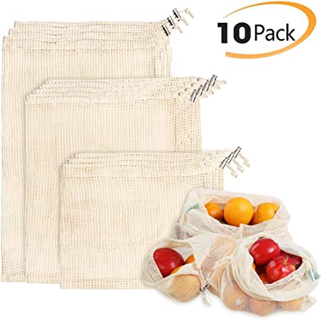 Reusable Zero Waste Shopping Bags Cotton Mesh Vegetable Produce Bags Latest