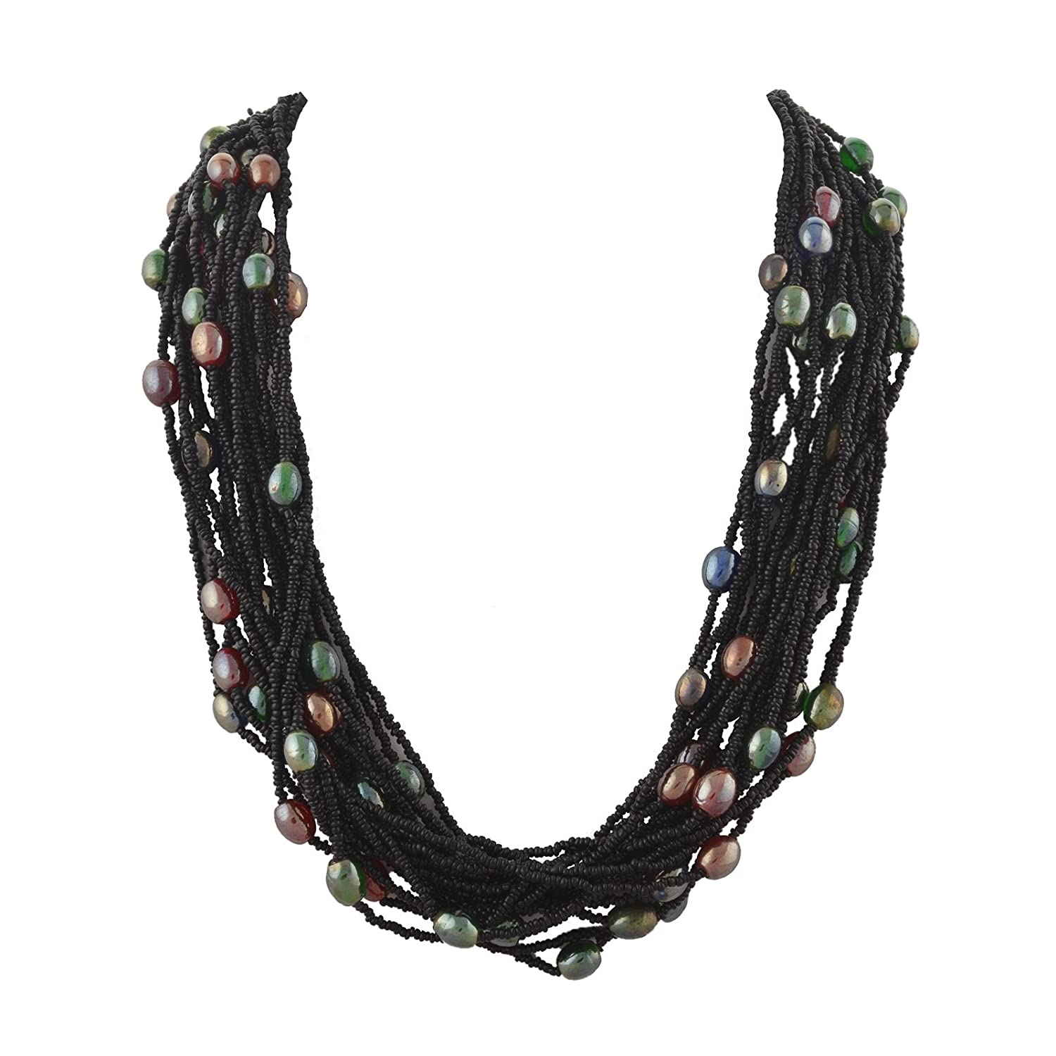 Ornamenta Fashion Handmade Beaded Multi strand Necklace with Glass Beads For Girls and Women JAN-1027