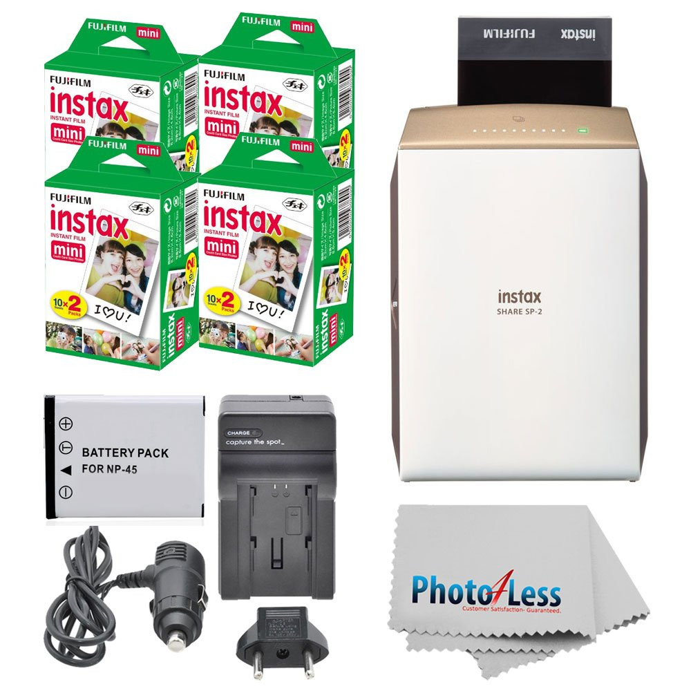 Fujifilm instax SHARE Smartphone Printer SP-2 (Gold) + Fujifilm Mini Twin Pack (80 Shots) + Travel Charger & Extra Battery + Cleaning Cloth + Portable Printer Bundle by Fujifilm