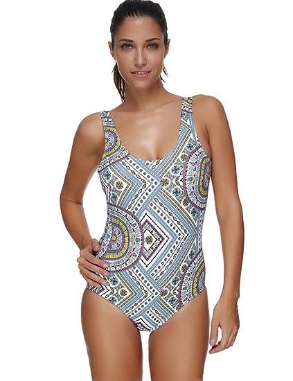 ada138c568d Amazon.com  JOYMODE Women Pro Training Racerback Slimming One Piece  Swimsuit Size XL Colorful Tribal  Clothing