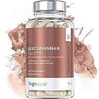 Glucomannan With Chromium and B6 -3000mg Strength Hunger Suppressant - Vegan Glucomannan Konjac Root Supplement, Chromium For Metabolism Management - 60 Glucomannan Tablets