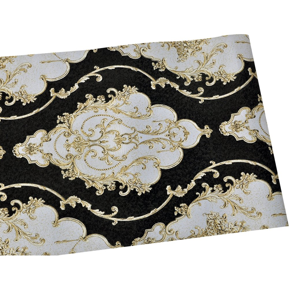 HaokHome 360207 Luxury Heavy Texture Victorian Damask Wallpaper Black/Gold/Brown/Silver for Home Accent Wall 20.8''x 31ft by HAOKHOME (Image #5)