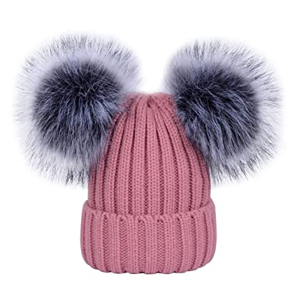 d0250270af2 Women s Winter Ribbed Knitted Faux Fur Double Pom Pom Beanie Hat Dark Pink   Amazon.ca  Luggage   Bags