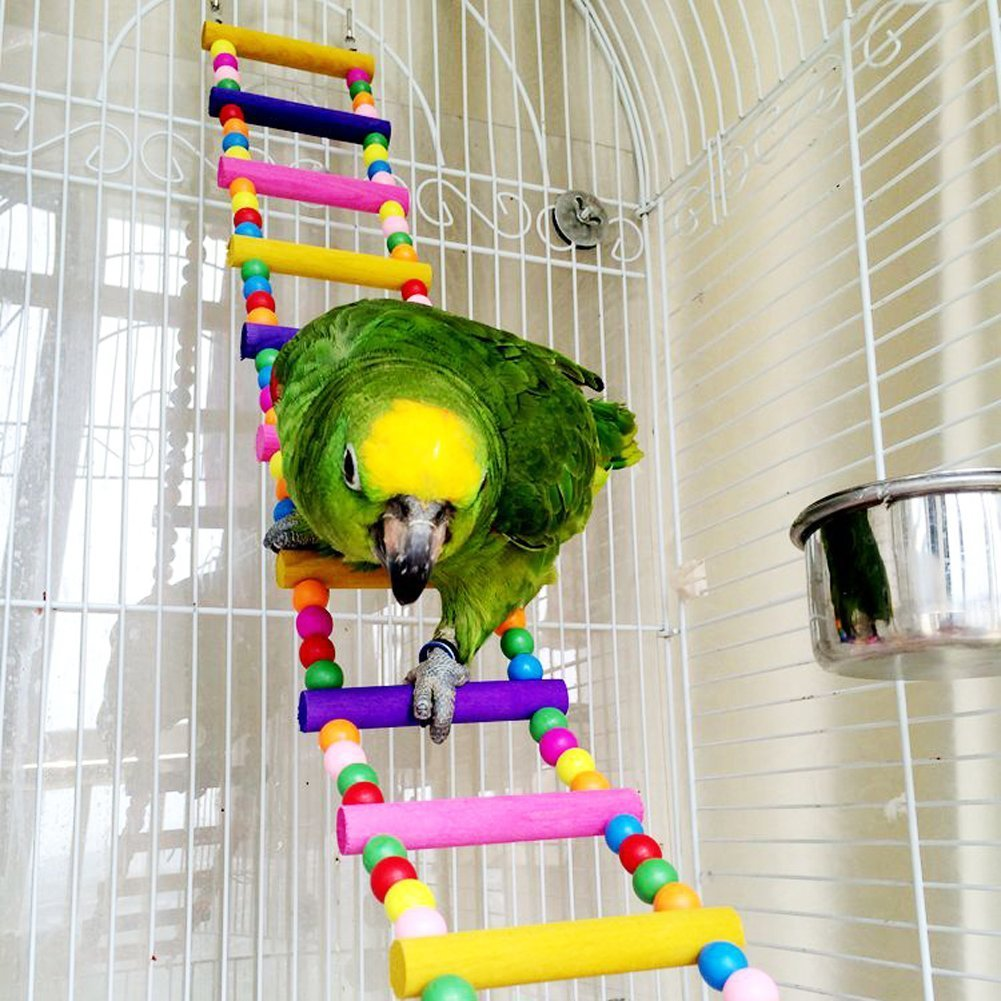 Wood Climbing Ladder Toy for Bird Parrot Budgie Parakeet Cockatiel Macaw African Grey Cockatoo Rat Gerbil Mice Chinchilla Guinea Pig Squirrel Cage Perch Keersi