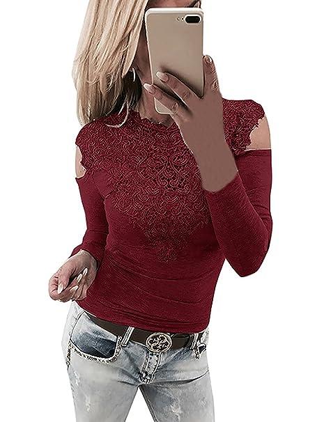 bfceed2d149a Yieune Oberteile Langarmshirt Damen Spitze T-Shirt Schulterfrei Sexy Blouse  Tops Casual Shirt (Weinrot