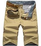 WSLCN Homme Bermuda Chino Pantacourt Coton Shorts Couleur Divers (sans Ceinture)