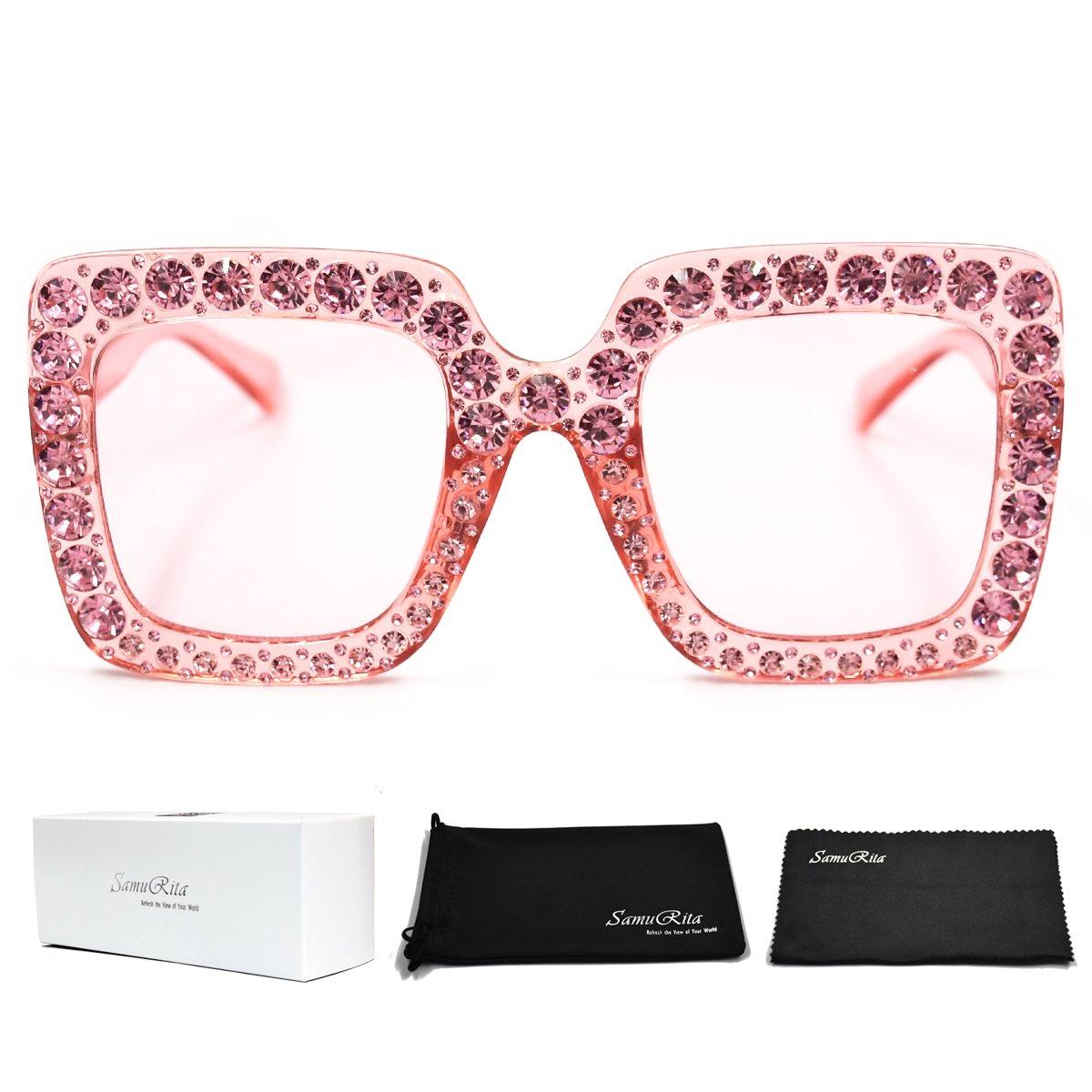 SamuRita Elton Square Diamond Rhinestone Sunglasses Novelty Oversized Celebrity Shades(Pink Frame/Pink Gradient Lens)