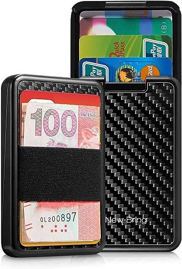 RFID Blocking Leather Slim Wallet Money Elastic Band Credit Card Holder Pocket