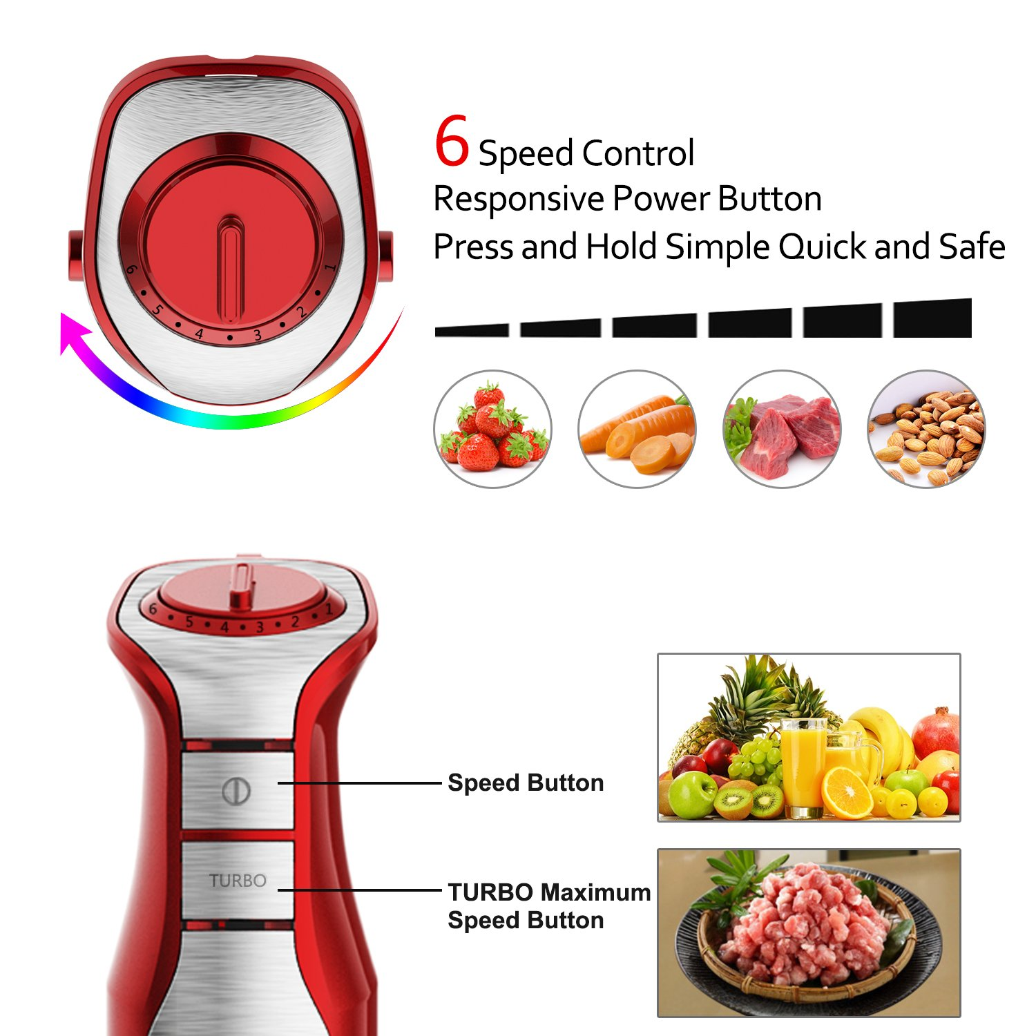 XProject 800W 4-in-1 Hand Blender with 6 Speed,Powerful Immersion Hand Blender for Smoothies Baby Food Yogurt Sauces Soups (Red) by XProject (Image #3)