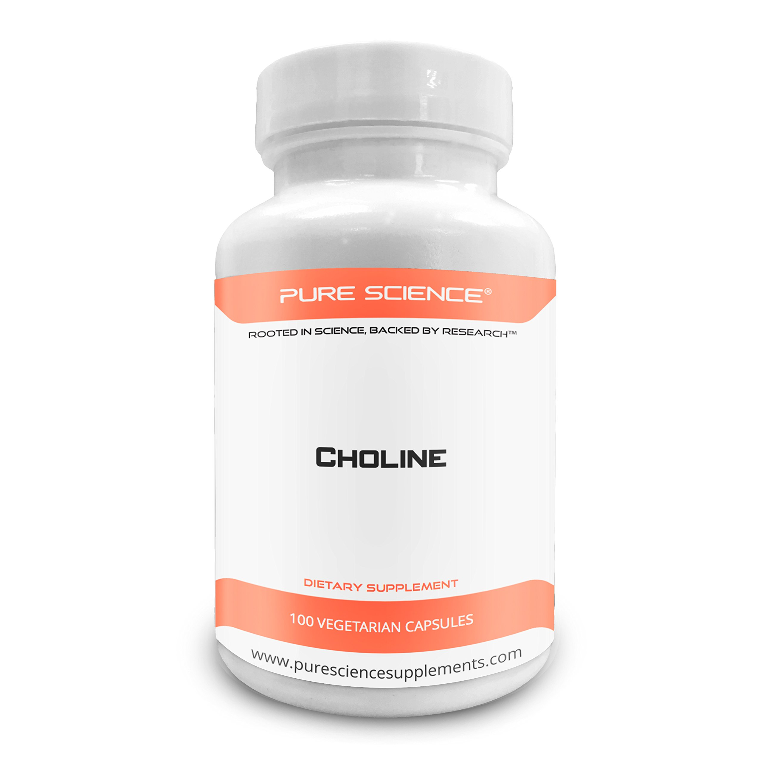Pure Science Choline Bitartrate Capsules 240mg - Improves Brain Function, Muscle Function & Overall Health - 100 Vegetarian Capsules of Choline Bitartrate Powder
