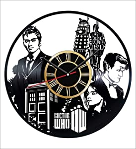 Doctor Who Vinyl Wall Clock Vintage Record - Get Unique Home and Office Decor Bedroom Kitchen Kids Living Room - Gifts for Men Women Kids Father Mother - Wall Art Design - Free Personalization