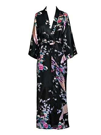 Old Shanghai Women s Kimono Long Robe - Peacock   Blossoms - Black (on-seam fffcd7de2