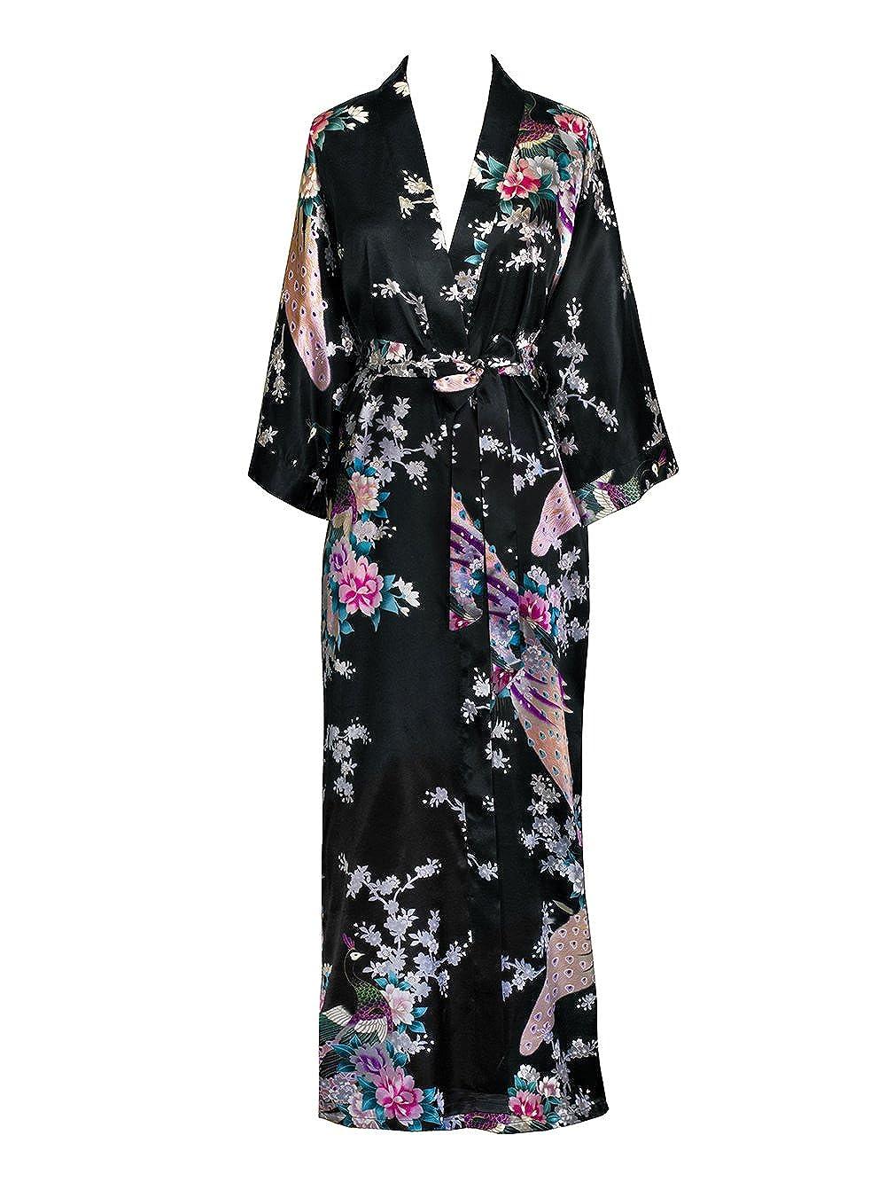 Old shanghai womens kimono long robe peacock blossoms black on seam pocket  at amazon womens clothing 5760aa011