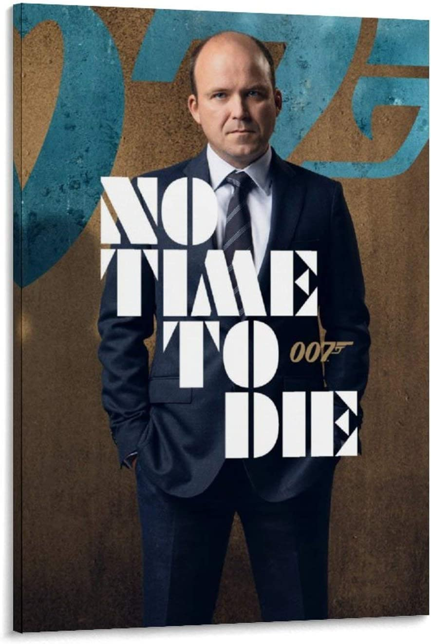 007 James Bond No Time to Die Tanner (Rory Kinnear) Home Canvas Artworks 24x36inch(60x90cm) Posters Painting Canvas Decor Prints Wall Art Picture Ready to Hang, Framed