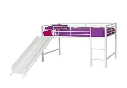 DHP Junior Twin Metal Loft Bed With Slide Multifunctional Design White