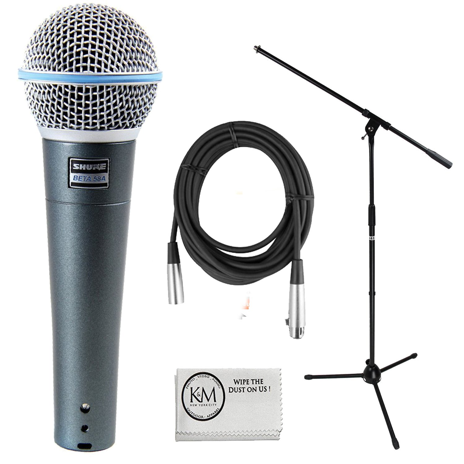 Shure Beta 58A Supercardioid Dynamic Vocal Microphone Bundle with Boom Stand, XLR Cable, and Austin Bazaar Polishing Cloth