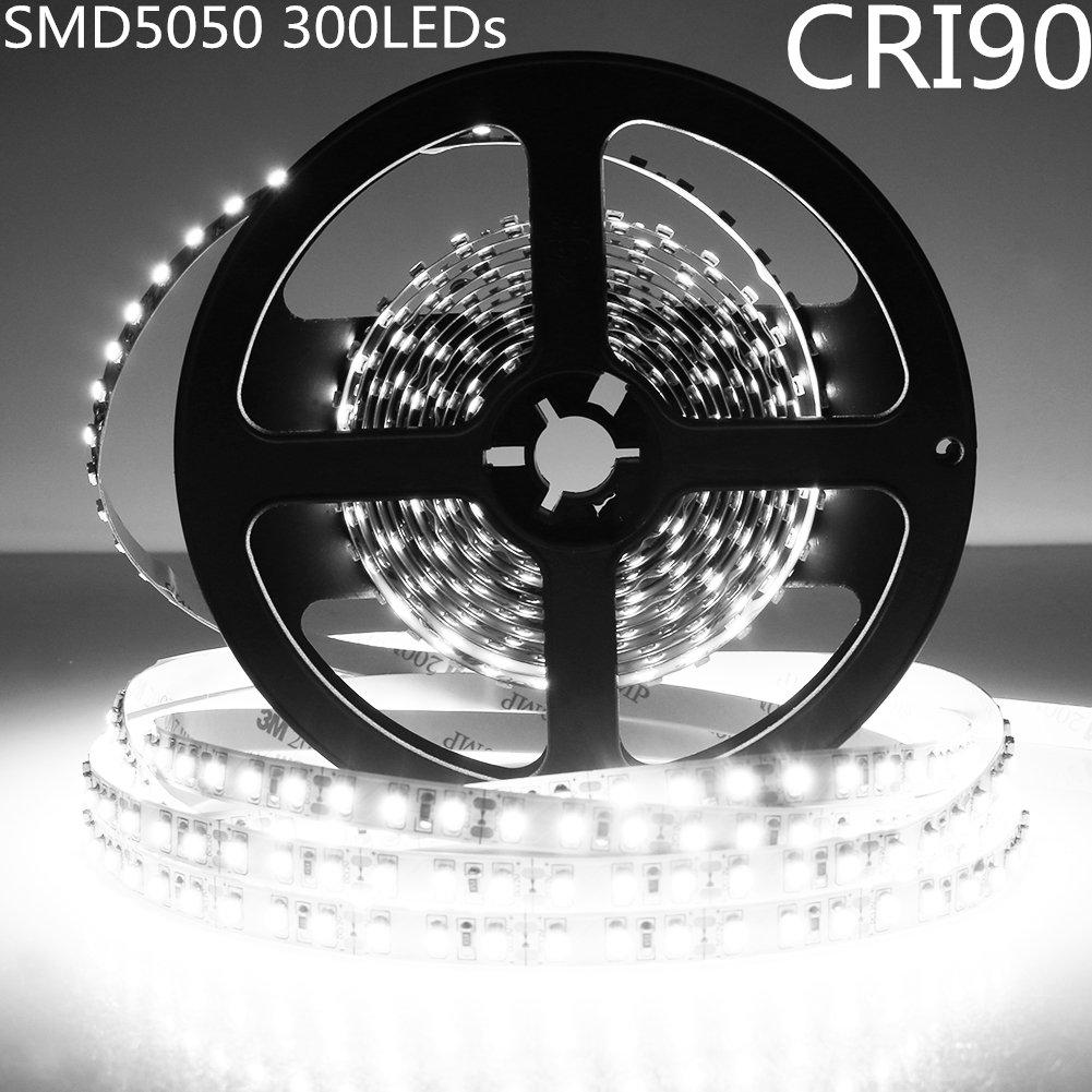 LightingWill LED Strip Light CRI90 SMD5050 16.4Ft(5M) 300LEDs Daylight White 5000K-6000K 60LEDs/M DC12V 72W 14.4W/M 10mm White PCB Flexible Ribbon Strip with Adhesive Tape Non-Waterproof H5050PW300N
