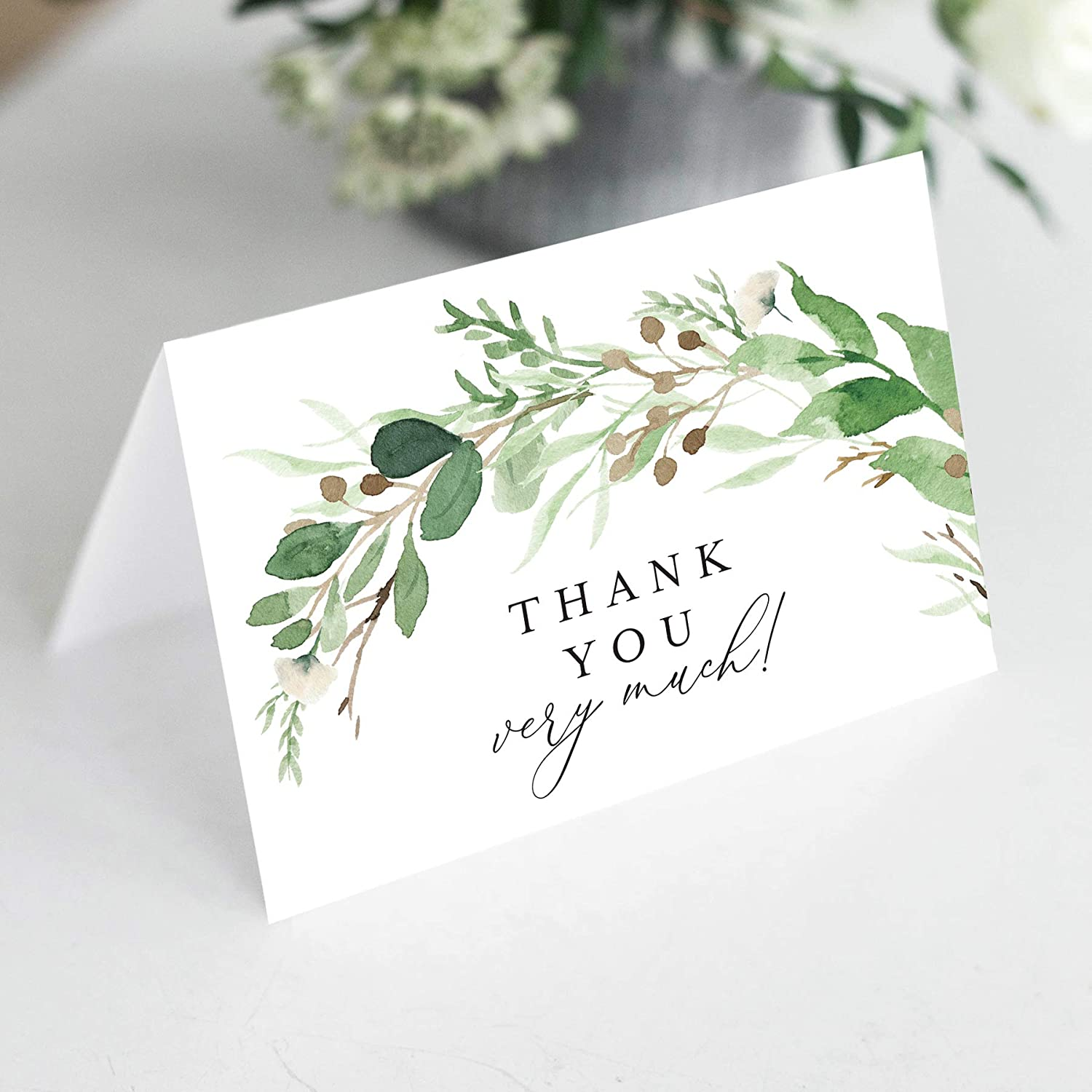 Bliss Collections Eucalyptus Greenery Thank You Cards with Envelopes, Pack of 25, 4x6 Folded, Tented, Bulk, Perfect for: Wedding, Bridal Shower, Baby Shower, Birthday, Funeral or Special Event