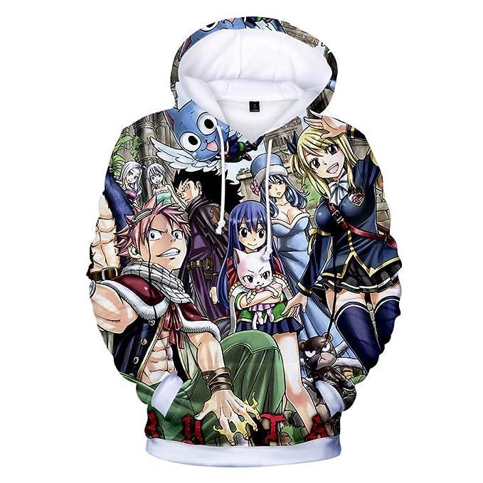 Cosstars Fairy Tail Anime Sudaderas con Capucha Adulto Cosplay 3D Impreso Pullover Hoodie Sweatshirt Outwear Abrigo Suéter: Amazon.es: Ropa y accesorios