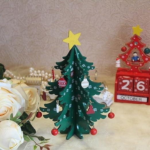 JIA 20 cm Mini Madera Feliz árbol de Navidad decoración de Mesa Adornos de árbol de Navidad decoración de Navidad Feliz año Nuevo decoración del hogar Regalo: Amazon.es: Hogar