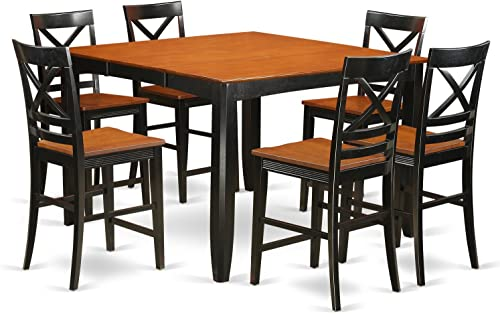 FAQU7H-BLK-W 7 Pc counter height Dining room set – Dining Table and 6 Kitchen bar stool.