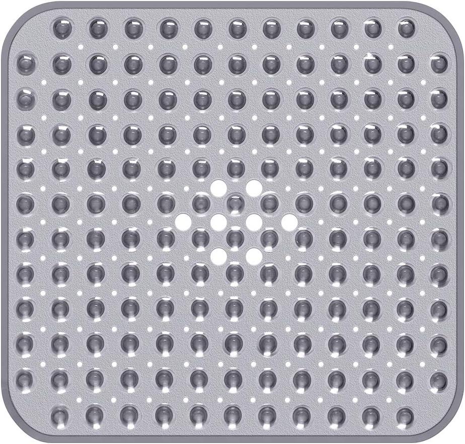 45 x 45 cm bianco Tappetino da bagno quadrato per doccia antiscivolo per bagno con grandi fori di scarico lavabile in lavatrice ftalati lattice 45 x 45 cm Yolife senza BPA forti ventose