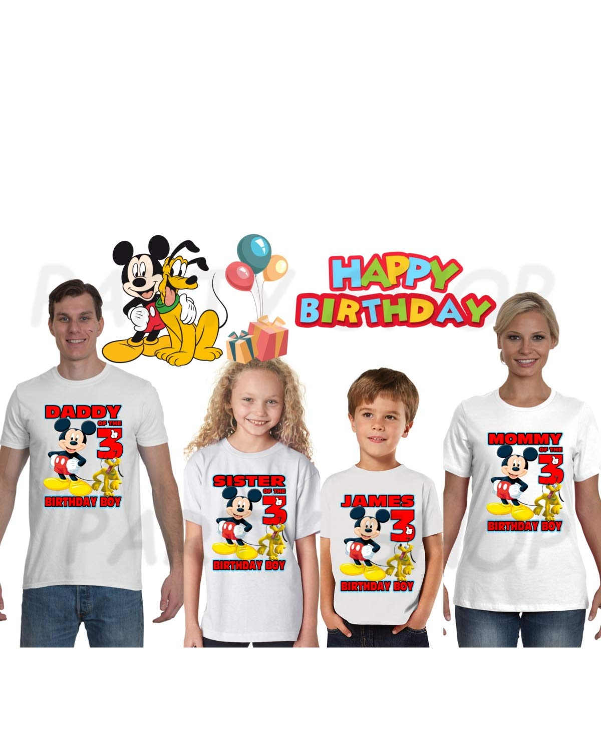 MICKEY MOUSE Birthday Shirt Mickey Mouse PartyADD Any Name And Age FAMILY Matching Shirts Boys Girls