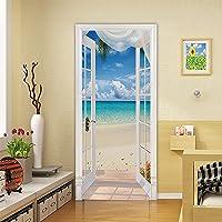 Yadass Deurfolie, zelfklevend, 3D-deurposter, strandlandschap, wandafbeelding, afneembaar, voor woonkamerdeur, keuken…