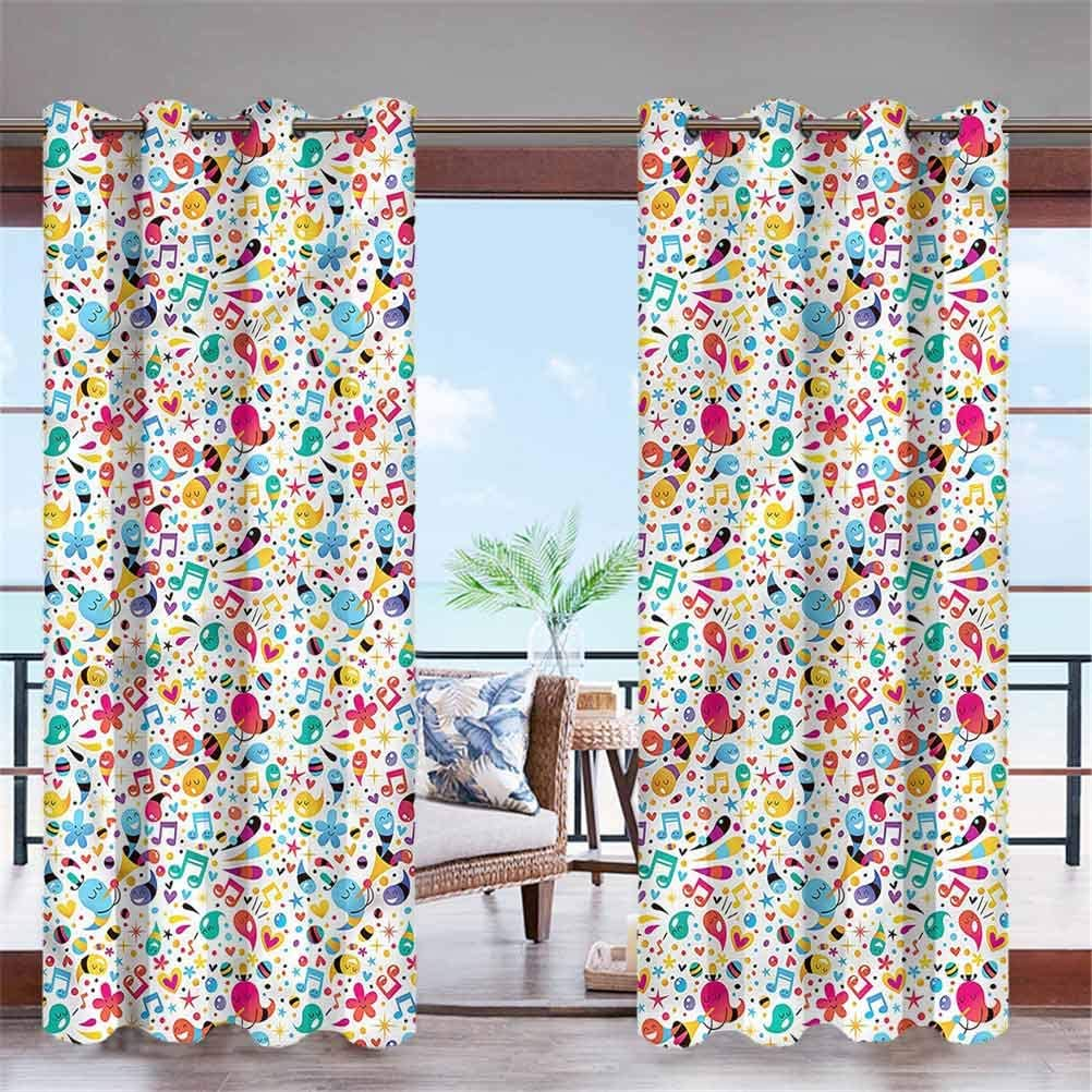 """ParadiseDecor Music Indoor/Outdoor for Garden Drapes Porch Gazebo Curtains Happiness Flowers Stars 100"""" W x 84"""" L"""