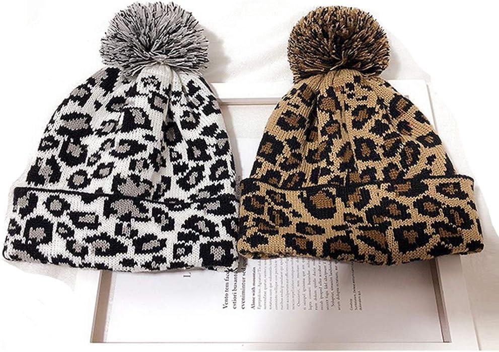 0f291eceeff FRCOLT Women s Retro Leopard Graphic Crochet Hat Knit Hat Beanie Hairball  Warm Cap(Free Size