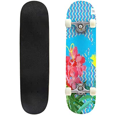 Classic Concave Skateboard Sweet Nerium Oleander Flower and Tropical Plant on 1980 Graphic Longboard Maple Deck Extreme Sports and Outdoors Double Kick Trick for Beginners and Professionals : Sports & Outdoors