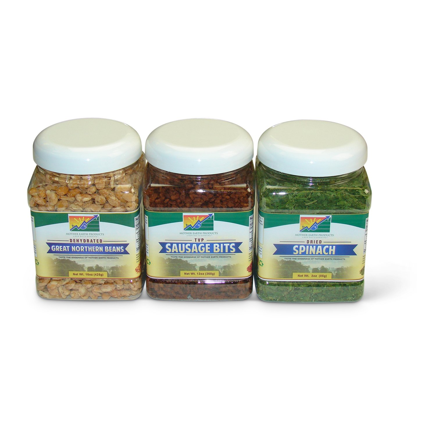 Mother Earth Products Vegetarian Italian Soup Starter Medley: Great Northern Beans, Dried Spinach, and TVP Sausage Bits by Mother Earth Products