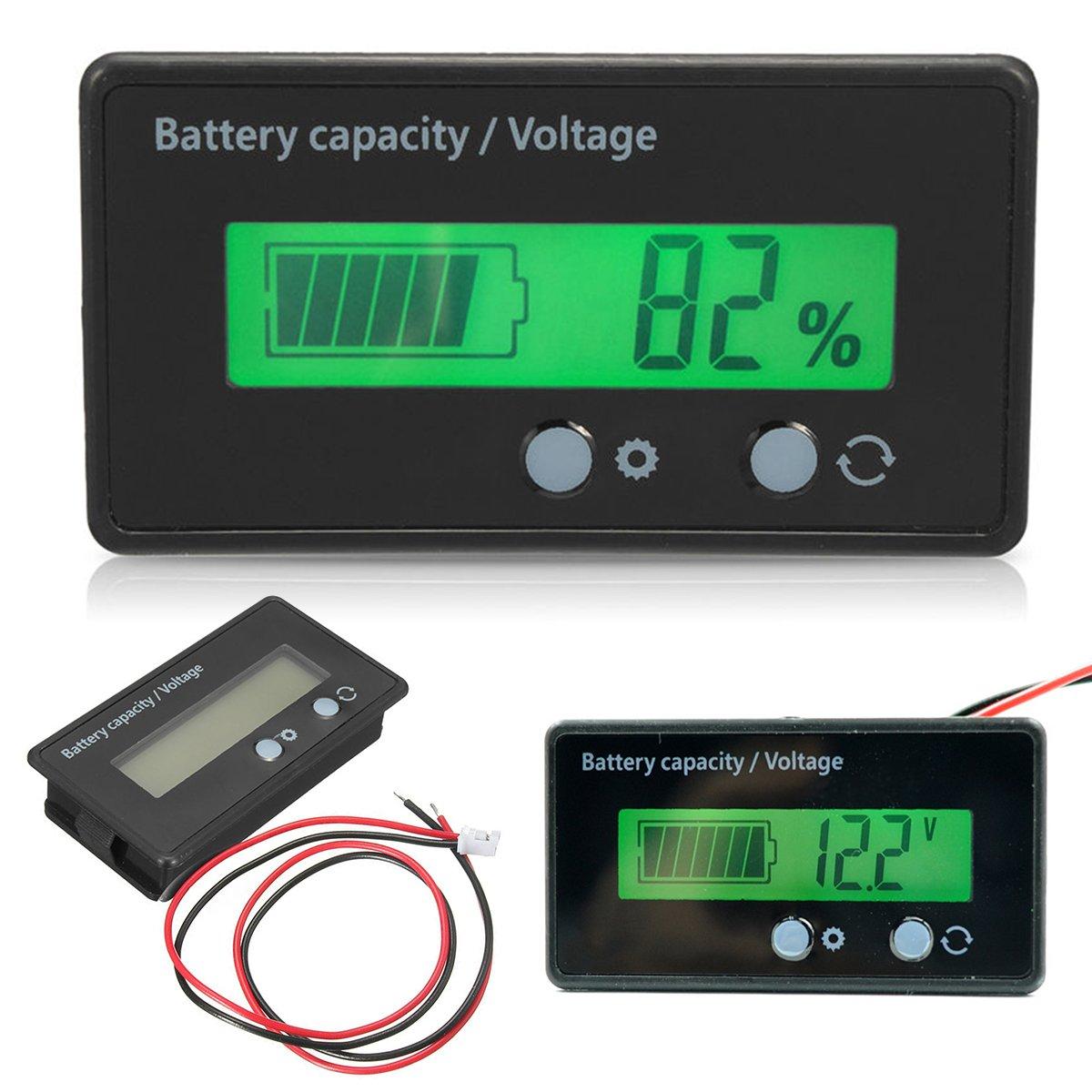 Zerone Digital-Multimeter, LCD-Anzeige Batteriekapazitä t Voltmeter Meter Monitor 6-70V Multifunktions-Meter Batterieanzeige Monitor-Modul Elektrische Menge Detector Reader fü r Auto-Fahrzeug